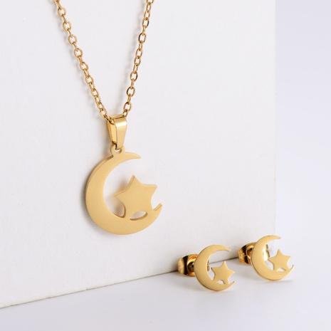 Einfache Moon Star Schlüsselbeinkette Ohrringe Set Großhandel Nihaojewelry NHON423966's discount tags