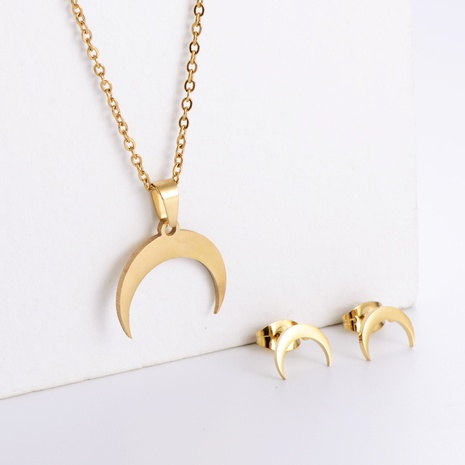 Einfache Mond Schlüsselbeinkette Ohrringe Set Großhandel Nihaojewelry NHON423983's discount tags