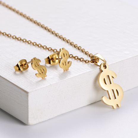 Einfache Dollar-Form Schlüsselbeinkette Ohrringe Set Großhandel Nihaojewelry NHON423993's discount tags