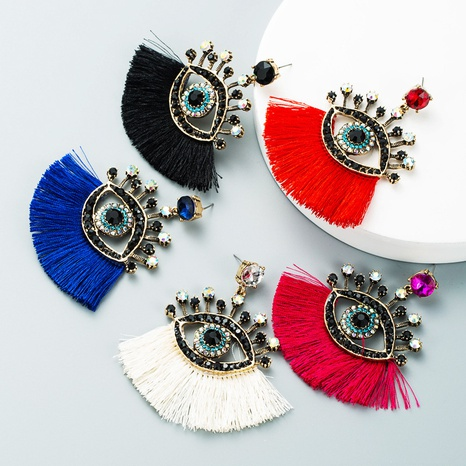 Retro blaue Augen Quaste fächerförmige Ohrringe Großhandel Nihaojewelry NHLN424003's discount tags