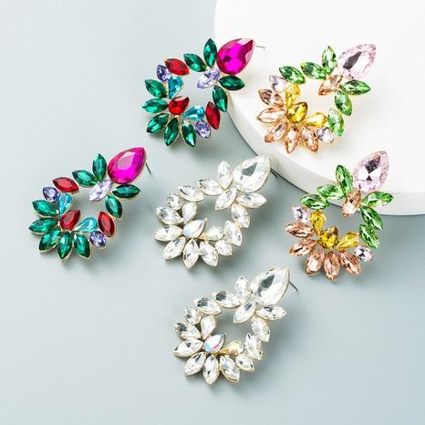 Modelegierung diamantbesetzte Glasdiamantblume geometrische Ohrringe Großhandel Nihaojewelry NHLN424004's discount tags