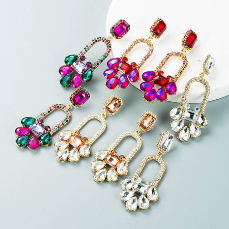 Retro-Legierung Farbe Strass geometrische Blumenohrringe Großhandel Nihaojewelry NHLN424006's discount tags