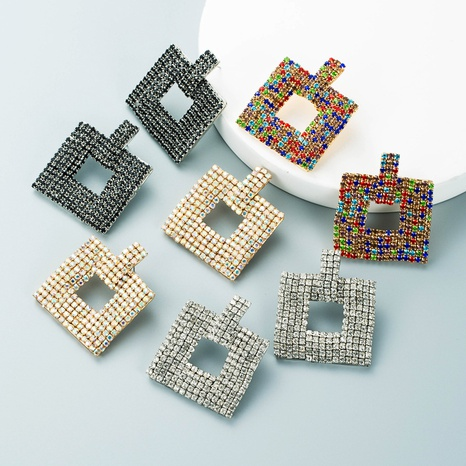 Retro-Legierung diamantbesetzte Strasssteine quadratische geometrische Ohrringe Großhandel Nihaojewelry NHLN424010's discount tags