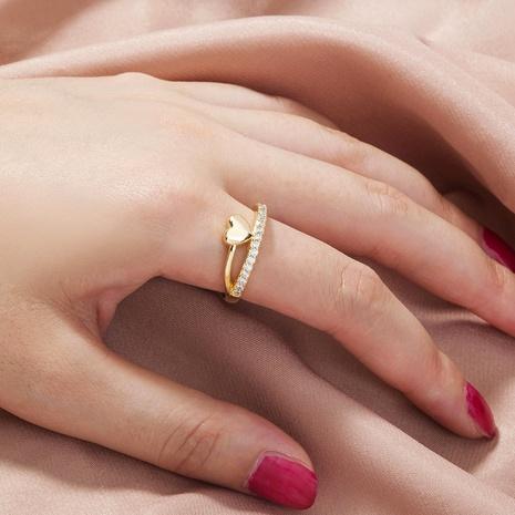 anillo de cobre de circón con incrustaciones en forma de corazón de moda al por mayor nihaojewelry NHDB424196's discount tags