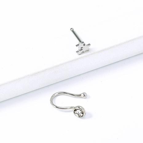 einfacher Mini-Kupfer-Mikro-Intarsien-Zirkon U-förmiger Stern-Nasenring Großhandel nihaojewelry NHDB424209's discount tags