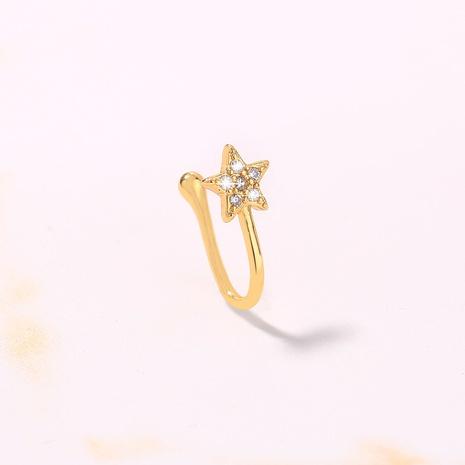 Mode sternförmiger mikroeingelegter Zirkon U-förmiger Kupfernasenring Großhandel nihaojewelry NHDB424215's discount tags