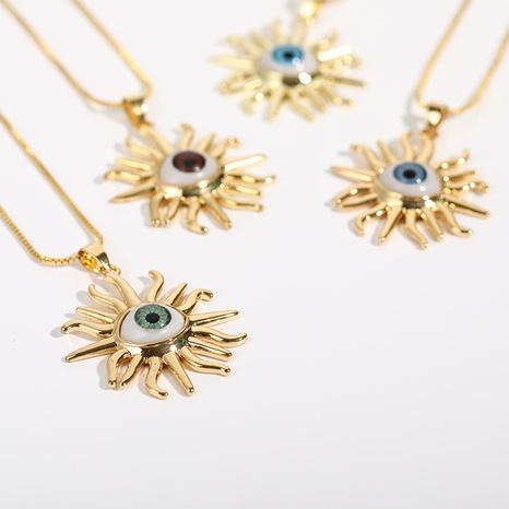 Collar chapado en oro de cobre con colgante de mal de ojo al por mayor Nihaojewelry NHJIF424247's discount tags