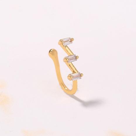 einfacher neuer mikroeingelegter Zirkon geometrischer trapezförmiger Kupfernasenring Großhandel nihaojewelry NHDB424216's discount tags