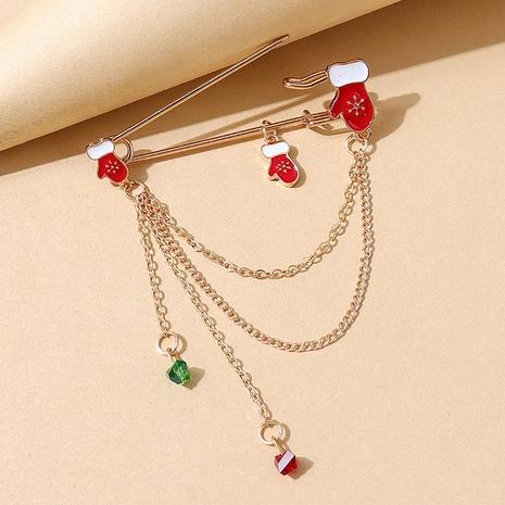 Serie de navidad guante cystal cadena borla pin broche al por mayor nihaojewelry NHPS424903's discount tags