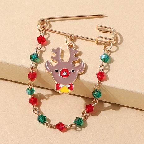 Broche de cadena de empalme de cystal de color de alce de la serie navideña al por mayor nihaojewelry NHPS424896's discount tags