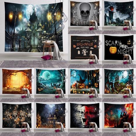 halloween skull pumpkin print bedroom wall decoration tapestry wholesale nihaojewelry NHJW424550's discount tags