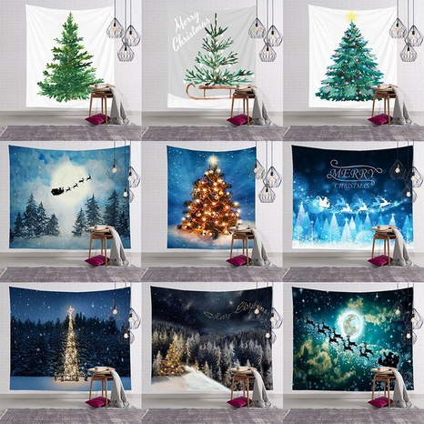 Christmas watercolor tree snow view print wall decoration tapestry wholesale nihaojewelry  NHJW424563's discount tags