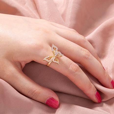 moda oro apertura ajustable micro-incrustaciones zircon mariposa anillo de cobre al por mayor nihaojewelry NHDB424713's discount tags