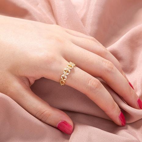 simple apertura hueca ajustable micro-incrustaciones de circonio flor anillo de cobre al por mayor nihaojewelry NHDB424714's discount tags