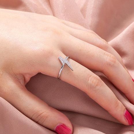 anillo de cobre relámpago de circón microincrustado ajustable de apertura simple al por mayor nihaojewelry NHDB424716's discount tags