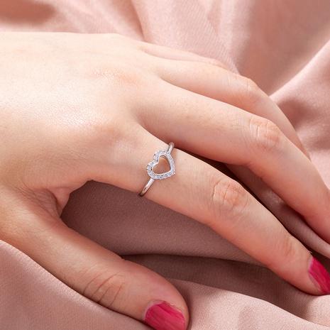 anillo de cobre con corazón hueco de circón microincrustado simple al por mayor nihaojewelry NHDB424717's discount tags