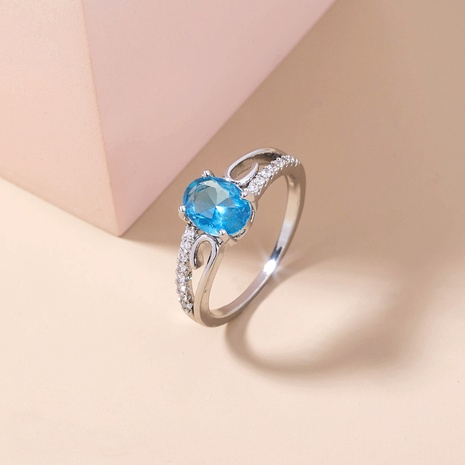 anillo de cobre de circón microincrustado de zafiro ovalado simple al por mayor nihaojewelry NHDB424721's discount tags