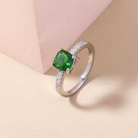 anillo de cobre de circón microincrustado de piedras preciosas verdes geométricas simples al por mayor nihaojewelry NHDB424722's discount tags