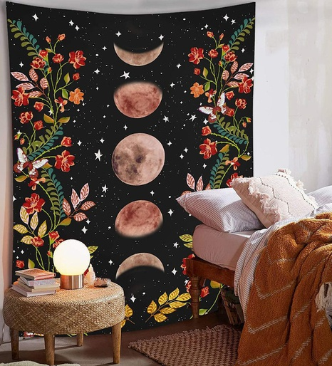 vintage moon phase flower tapestry home decoration wholesale nihaojewelry NHZAJ425098's discount tags