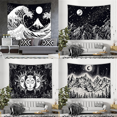 Bohemian style black and white printed tapestry wholesale Nihaojewelry NHZAJ425138's discount tags