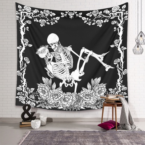retro black skull tapestry home background decoration wholesale Nihaojewelry  NHZAJ425149's discount tags