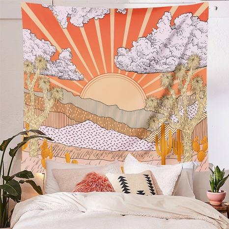 vintage sun mountain range tapestry bedroom home decoration background cloth wholesale nihaojewelry NHZAJ425155's discount tags