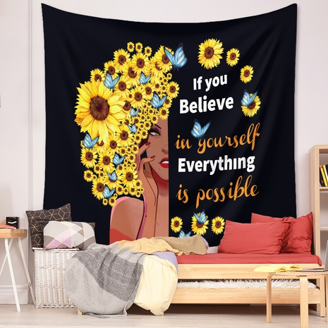 vintage fashion sunflower girl painting tapestry wall decoration background wholesale nihaojewelry NHZAJ425157's discount tags