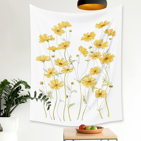fashion small yellow flower printing home wall decoration hanging cloth wholesale Nihaojewelry  NHZAJ425171's discount tags
