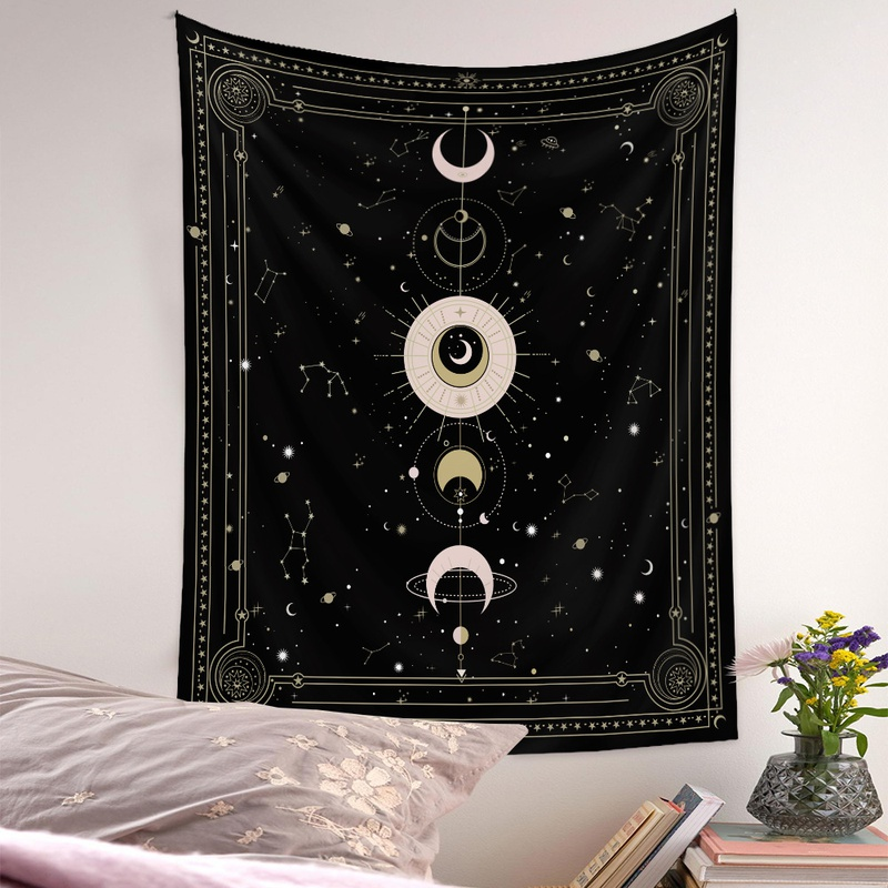 Bohemian style psychedelic moon phase diagram tapestry wholesale nihaojewelry  NHQYE425178