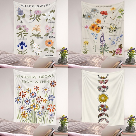 Bohemian style flower moon phase diagram room decoration tapestry wholesale nihaojewelry  NHQYE425179's discount tags