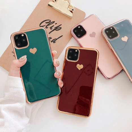 Korean electroplating heart Apple mobile phone shell wholesale Nihaojewelry NHKAT425611's discount tags