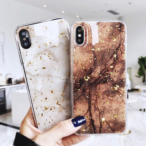 Gold Foil Marble Epoxy Phone Case Case Wholesale Nihaojewelry NHKAT425616's discount tags