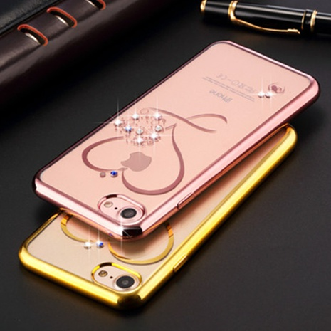 fashion heart mobile diamond-studded electroplating phone shell wholesale Nihaojewelry  NHKAT425634's discount tags