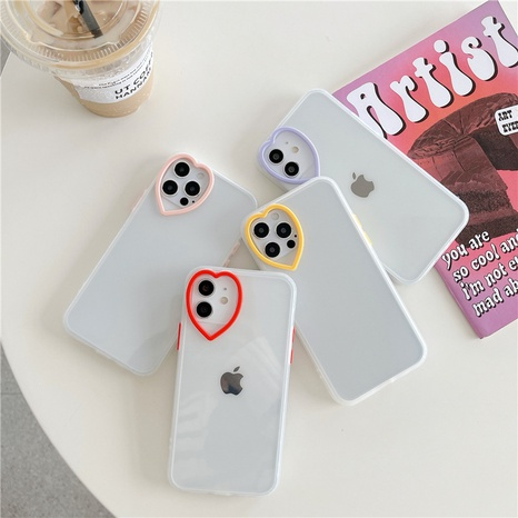 Simple heart lens all-inclusive transparent mobile phone case wholesale Nihaojewelry  NHKAT425638's discount tags