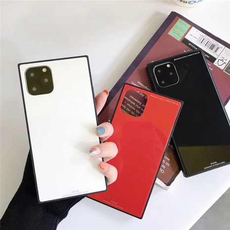 simple square glass pure color mobile phone case wholesale Nihaojewelry NHKAT425653's discount tags