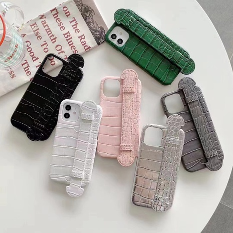 solid color crocodile pattern wristband mobile phone shell wholesale nihaojewelry  NHKAT425655's discount tags