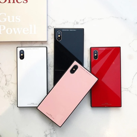 square texture pure color glass mobile phone case  wholesale nihaojewelry  NHKAT425657's discount tags
