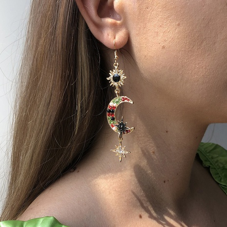 Sun Moon Unregelmäßige Anhänger Ohrringe Großhandel Nihaojewelry NHMD426445's discount tags