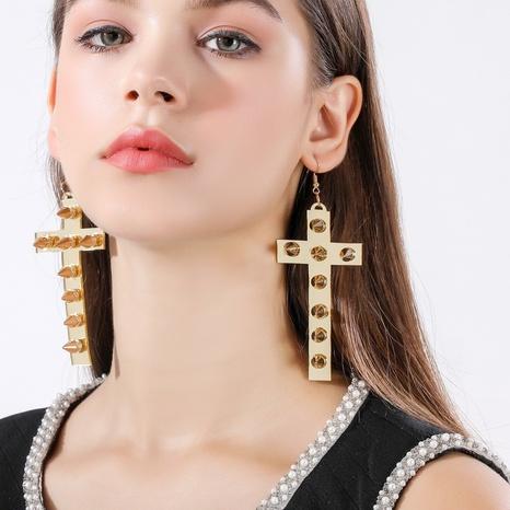 Retro-Kreuzweidennägel große Ohrringe Großhandel Nihaojewelry NHQC426420's discount tags