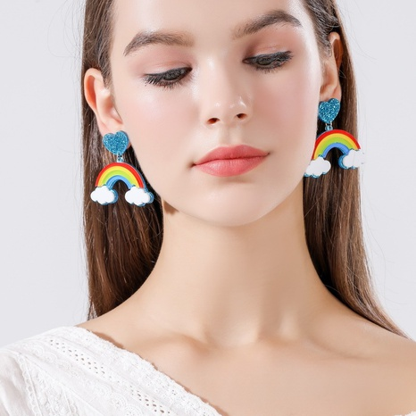 Modeherz Regenbogenohrringe Großhandel Nihaojewelry NHQC426382's discount tags