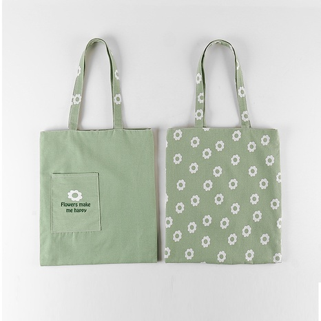 Mode einfarbiger Stoff doppelseitige Dual-Use-Baumwollleinen Blumendruck Handtasche Großhandel nihaojewelry NHQMH426132's discount tags