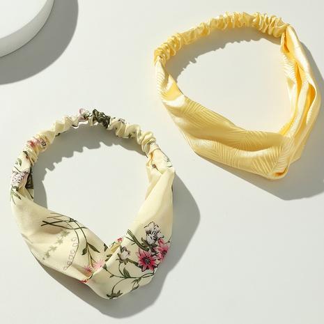fashion vintage flower printing cross fabric headband wholesale nihaojewelry NHAU429500's discount tags