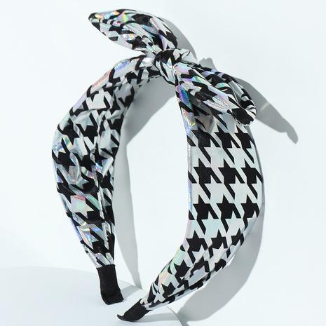 vintage fashion Houndstooth bow headband wholesale nihaojewelry NHAU429498's discount tags
