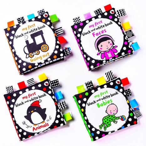 Libro de juguete de tela de etiqueta en blanco y negro de aprendizaje temprano infantil al por mayor Nihaojewelry NHBEI427531's discount tags