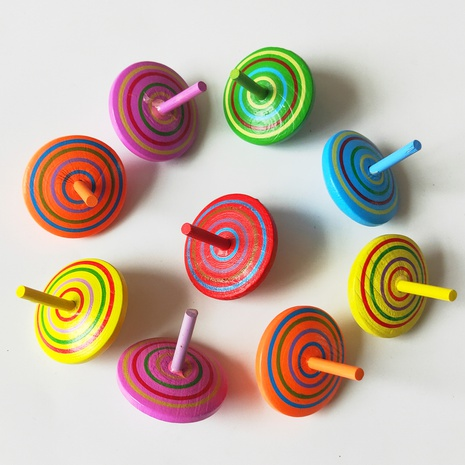 golpe de color raya descompresión juguete giroscopio de madera al por mayor nihaojewelry NHSCA427581's discount tags
