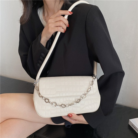 fashion solid color flower chain crocodile pattern small square bag wholesale Nihaojewelry NHLH427894's discount tags