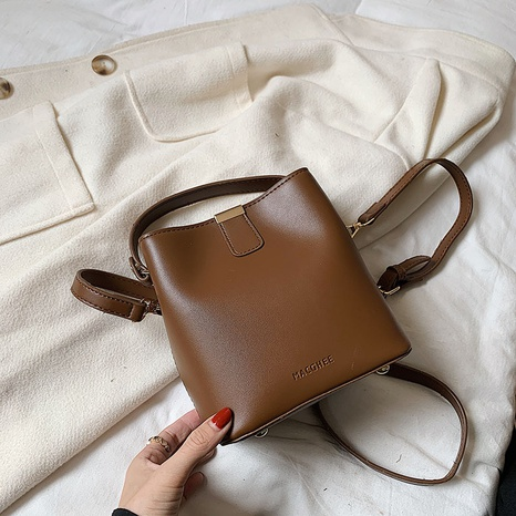 Retro solid color portable shoulder messenger bucket bag wholesale nihaojewelry  NHLH427907's discount tags