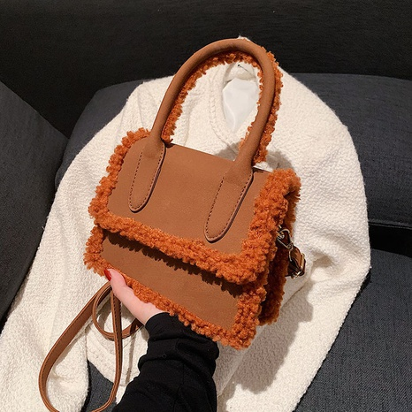 solid color plush messenger shoulder small square bag wholesale nihaojewelry  NHLH427909's discount tags
