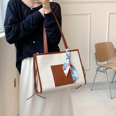 fashion bow silk scarf hit color high capacity tote bag wholesale Nihaojewelry NHLH427960's discount tags