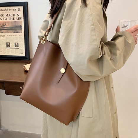 Korean solid color large-capacity bucket bag wholesale Nihaojewelry NHLH427972's discount tags
